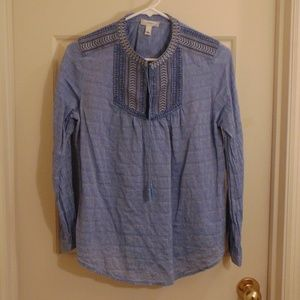 J. Crew Bohemian Blue Embroidered Tie Blouse